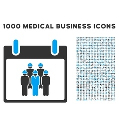 Staff calendar day icon with 1000 medical business vector