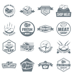 steak logo icons set simple style vector image