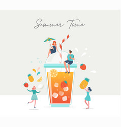 summer scene group people family and friends vector image