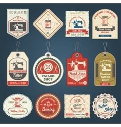 Tailor shop badges labels icons set vector