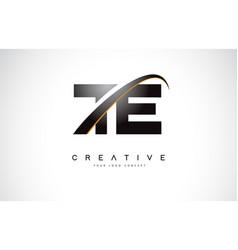 Te t e swoosh letter logo design with modern vector