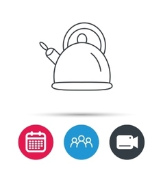 Teapot icon Kitchen kettle sign vector image