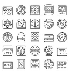 time measure icon set outline style vector image