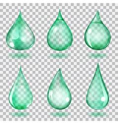 Transparent turquoise drops vector