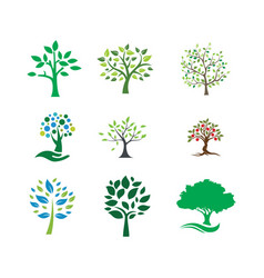 Tree landscapes nature logo design vector