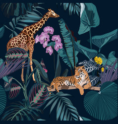 tropical night vintage wild animals vector image