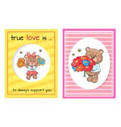 True love always support teddy cheerleader bouquet vector