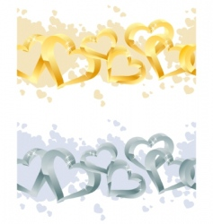 two seamless heart borders vector image