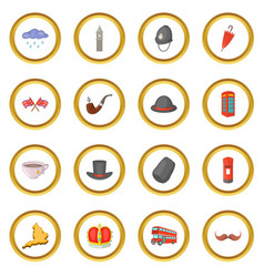 United kingdom travel icons circle vector