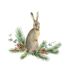 watercolor christmas card with a hare vector image
