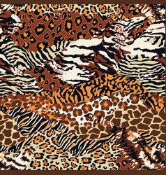 wild animal skins patchwork wallpaper vector image