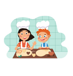 young children having fun cooking vector image
