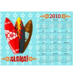 aloha calendar with surf boards vector image vector image