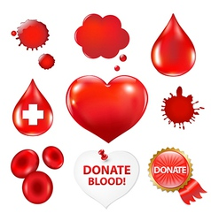 Big Collection With Blood Drop And Heart vector image