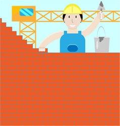 Builder builds a brick wall vector
