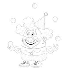 Circus clown juggling balls contour vector image vector image