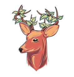 deer head with leaves vector image