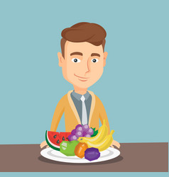 man with fresh fruits vector image
