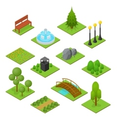 Park Set Isometric View vector image vector image