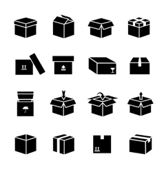 Box icons set vector image vector image