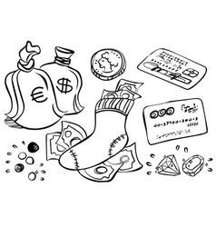 hand drawn Money art vector image vector image