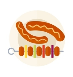 Kebab grill on plate vector image