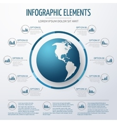 Earth globe 3D infographic template vector image vector image