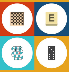 flat icon games set of chess table multiplayer vector image
