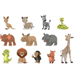 Funny kids animals vector image
