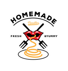 homemade noodle logo with mouth eat noodle with vector image