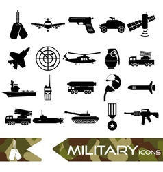 military theme simple black icons set eps10 vector image vector image