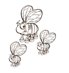 monochrome friendly cute bee flying and smiling vector image