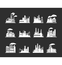Industry manufactory building icons vector image vector image