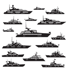 Set icons of motor yachts vector image vector image
