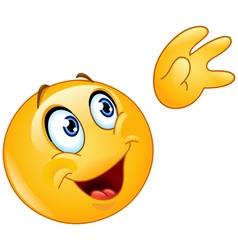 waving to sky emoticon vector image vector image
