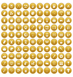 100 eco design icons set gold vector
