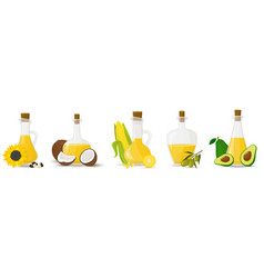 A set glass bottles with different oils olive vector