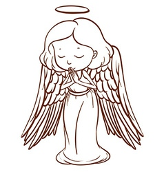 A simple sketch of an angel praying vector