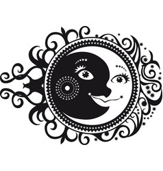 Abstract pattern crescent moon and sun symbol vector