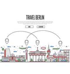 Air travel to berlin poster in linear style vector
