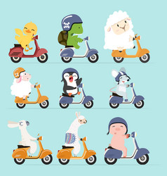 Animals riding with scooter set vector