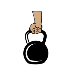 arm holding kettlebell icon design template vector image