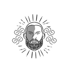 bald man with beard vintage style vector image