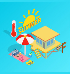 beach holiday clip art isometric style vector image