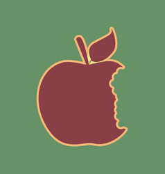 Bited apple sign cordovan icon and mellow vector