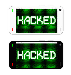 black and white smartphone hacked vector image