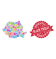 black friday collage of mosaic map of romania and vector image