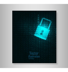 Book Lock abstract blue futuristic english code vector