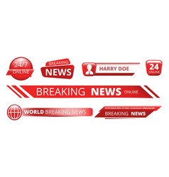 Breaking news banners television broadcast header vector