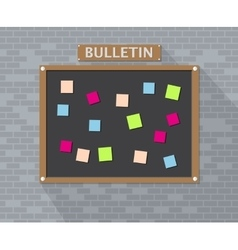 Bulletin board hanging on brick wall vector